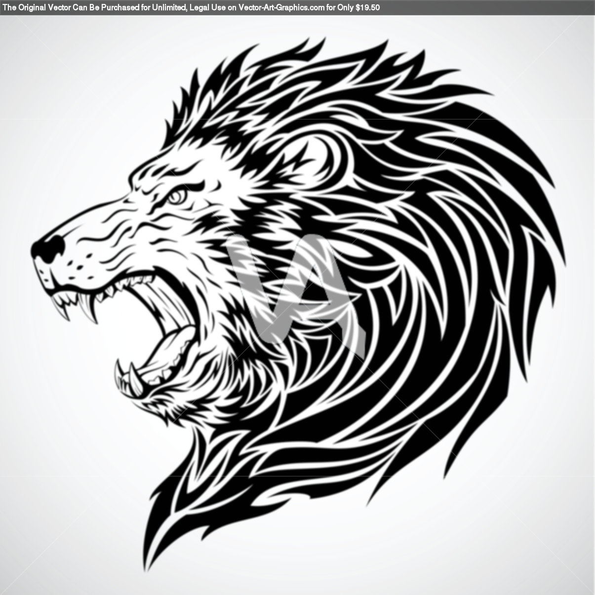15 Magnificent Leo Tribal Tattoos: Roaring-lion-tattoo-vector-graphics-of-lion-roar-tribal