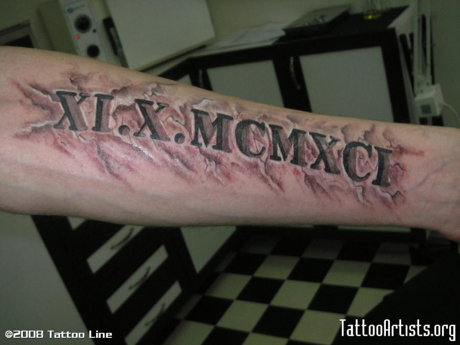 Roman Numeral Tattoos Font: Forearm Roman Letter Tattoo Designs