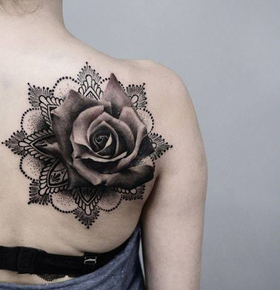 rose incorporated mandala tattoo