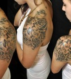 Beautiful Black Blooming Roses Shoulder / Upper-arms Tattoos for Women