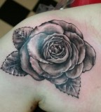 Exotic Black Rose Shoulder Tattoo Art for Women - Flower Tattoos
