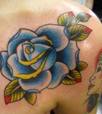 Beautiful Blue Rose Flower Shoulder Tattoo Design for Women
