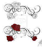 Beautiful Front-Shoulder Rose Tattoo Sketch Design by Nadyanilo (Deviantart)