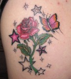 Sparkling Red-Rose Flower and Butterfly Shoulder Tattoo for Women