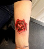 Beautiful Feminine Single Red Rose Arm-Tattoo Design for Women