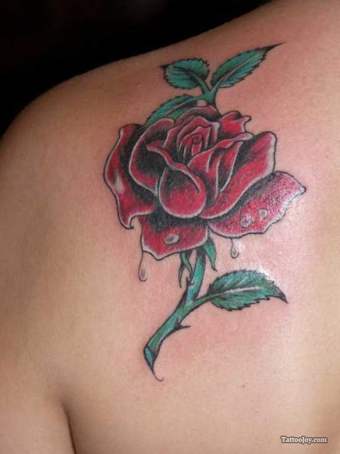 Lovely Medium Sized Red Rose Shoulder Tattoo Design For Women