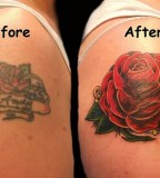 Awesome Red Rose Cover-up Shoulder Tattoo Job - Cover up Tattoos