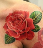 Blooming Red-Rose Flower Shoulder-Tattoo Design Ideas for Women
