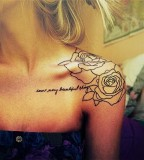 Gorgeous Rose Flowers and Quote Lettering Shoulder-Tattoo Design for Women