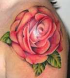 Beautiful Color of Blooming Red Rose Shoulder-Tattoo Design for Women