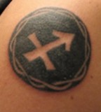 Cool Sagittarius Symbol with Circle Tattoo Design