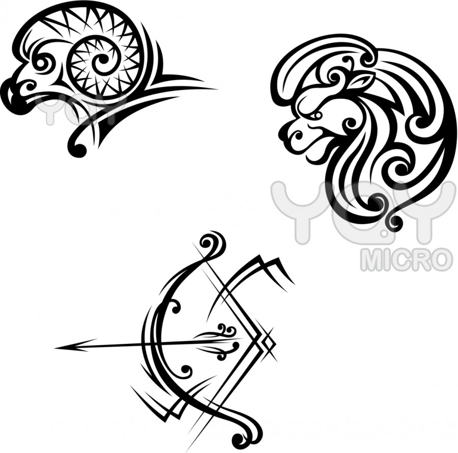 Leo Aries And Sagittarius Symbols For Tattoo Design Ideas Tattoomagz