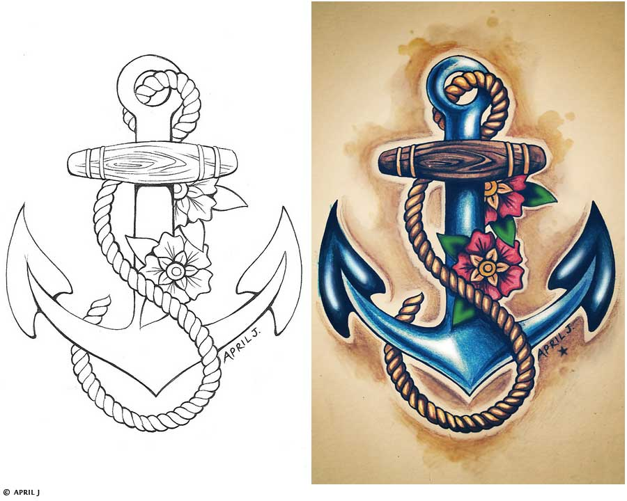 e6742ffda9a84 Traditional Old School Tattoos – Sailor Anchor Design. Posted in gallery: Sailor  Jerry ...