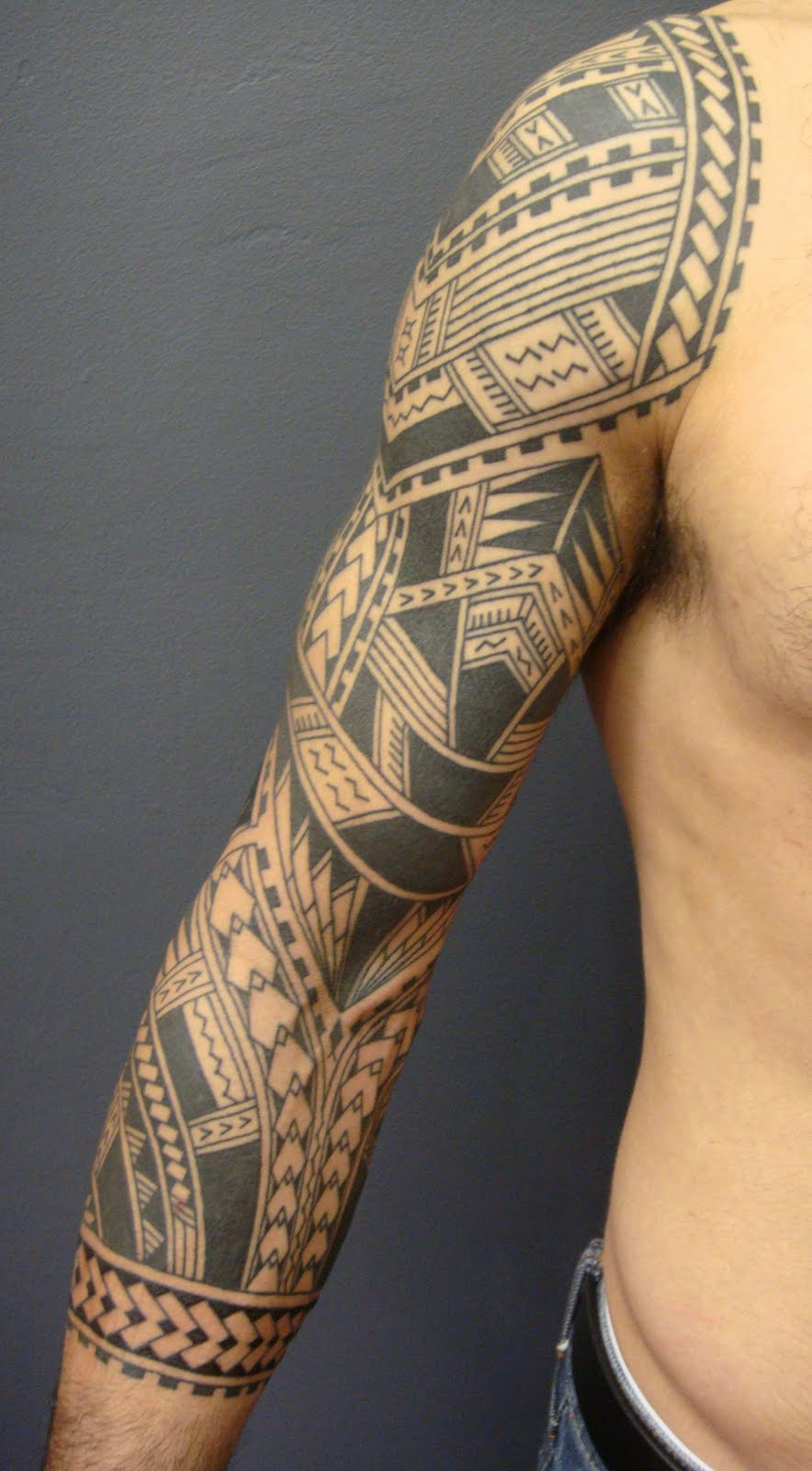 best samoan sleeve tattoo model on arm by lilzeu tattoo designs. Black Bedroom Furniture Sets. Home Design Ideas