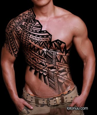 Awesome Samoan Tribal Tattoo Design From Upper Arm To Waist Tattoomagz