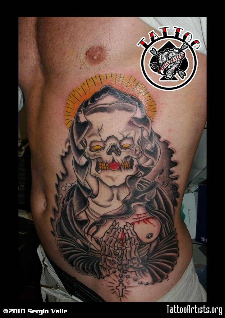 Tribal Santa Tatoo: Awesome Old School Tattoo Santa Muerte