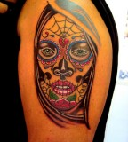Beautiful Half Sleeve Tattoo Santa Muerte