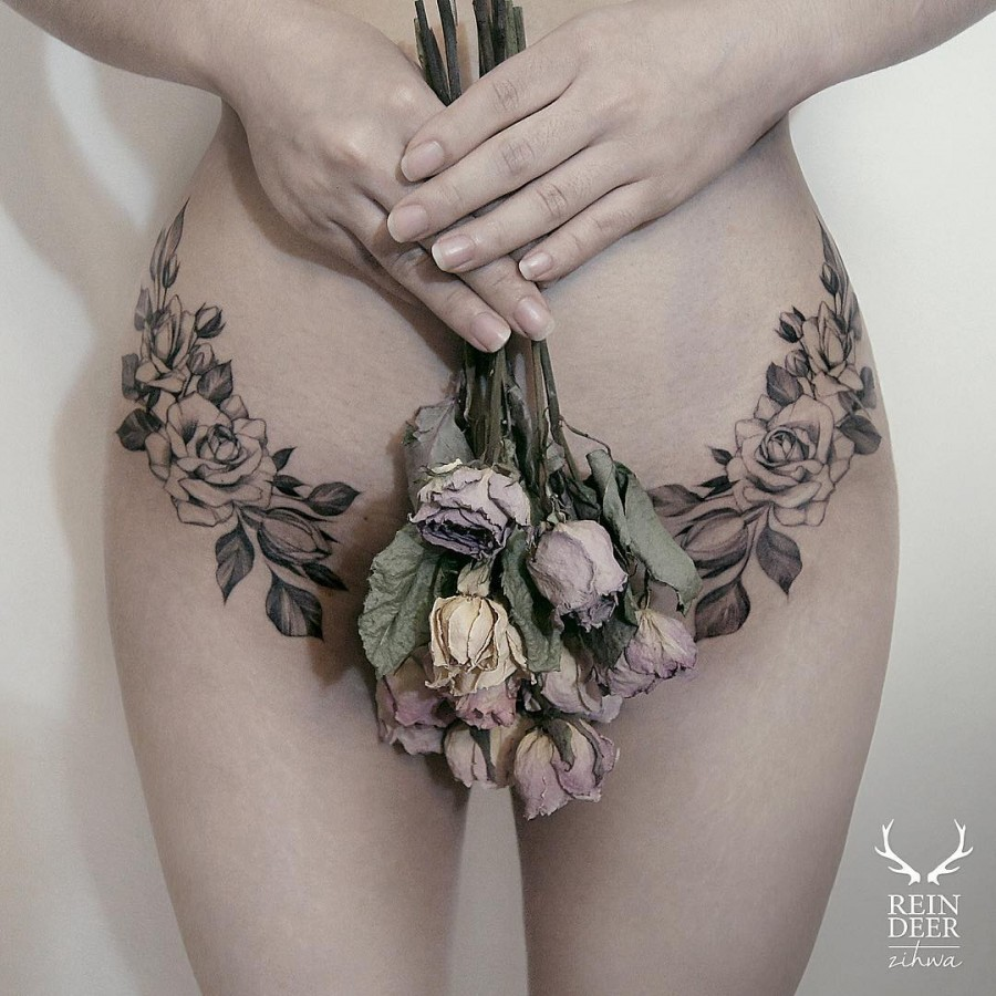 sensual-hip-flower-tattoos