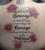 Roses And Lettering Serenity Prayer Tattoo