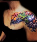 Amaazing Flowers Tattoos for Women - Front Shoulder Flower Tattoos