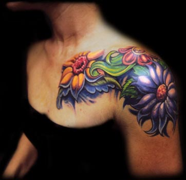 Amaazing Flowers Tattoos for Women - Front Shoulder Flower ...