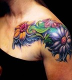 Flowers Shoulder Tattoo Design Ideas for Woman