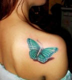 Cute Butterfly Shoulder Tattoo Design For Women