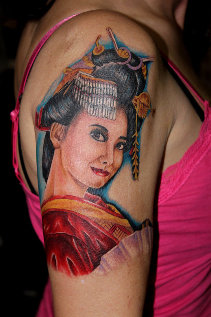 Geisha tattoo elegant geisha tattoo picture - Women Shoulder Japanese Geisha Tattoos