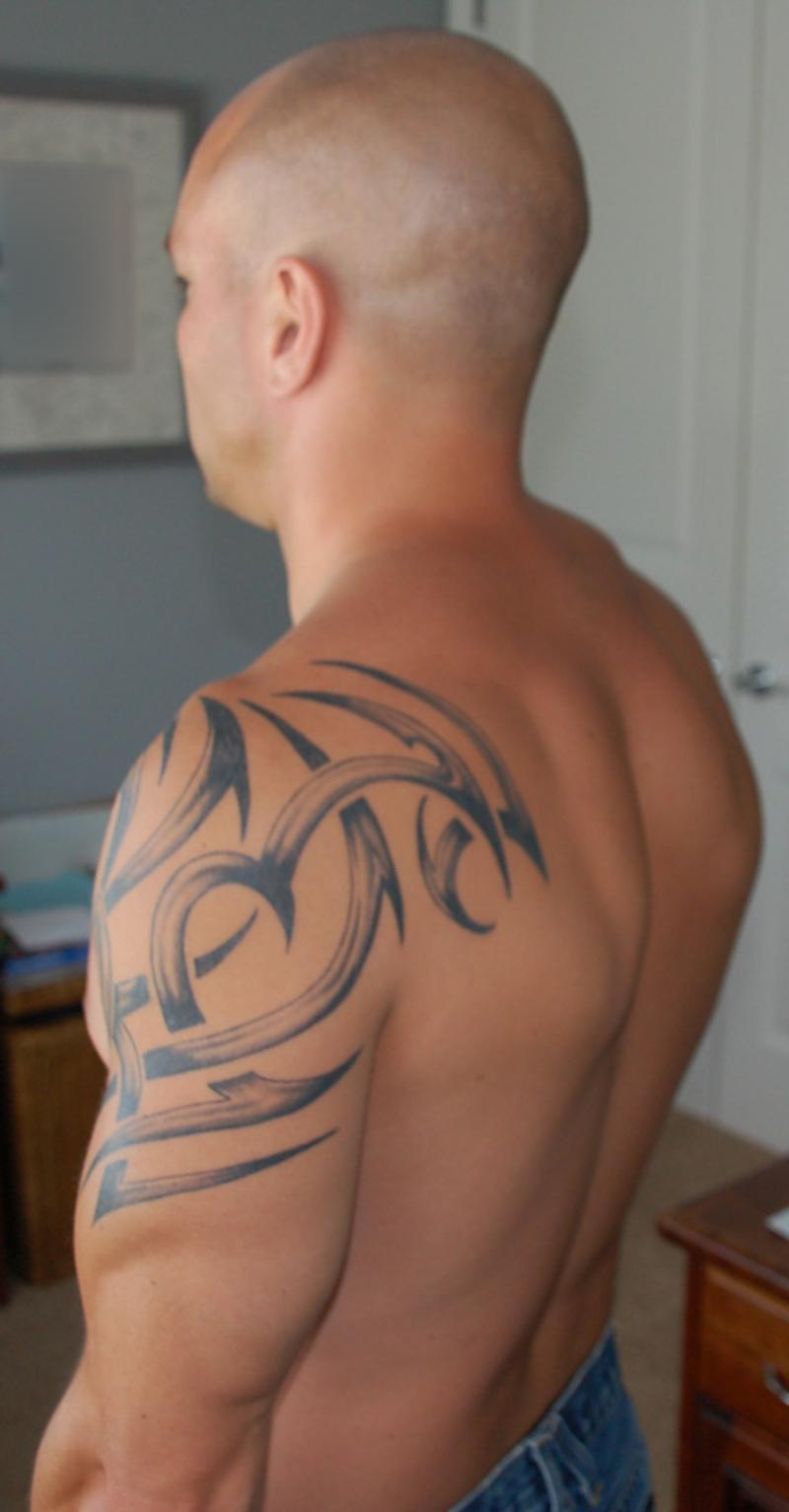 Dove tattoos on shoulder for men