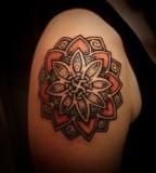 Budha Floral Shoulder Tattoo Ideas