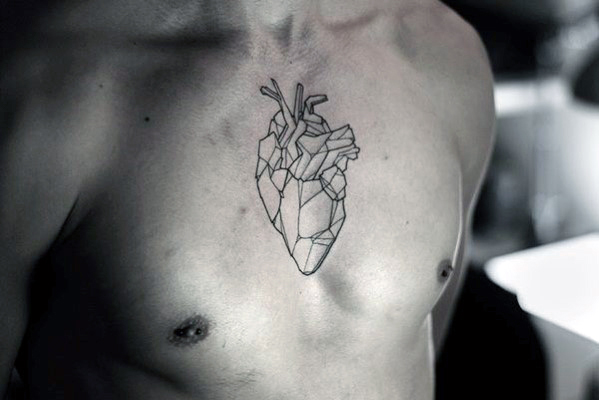 simple heart tattoos for men