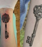Cool Skeleton Key Tattoos Tattoo Design on Forearm