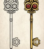 Amazing Skeleton Key Tattoo Design Sketch in Two Version