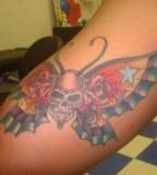 Forearm Skull Butterfly Tattoo