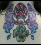 Upper Back Skull Butterfly Tattoo Design For Girls