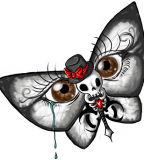 Butterfly / Skull / Eyes Illusion Tattoo Design