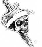 Dagger And Skull Sample Tattoo Design By Themacrat
