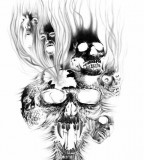 Beautiful Burning Evil Skulls Sketch for Tattoo Design