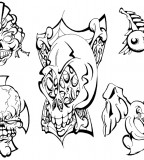 Skulls And Mo Tattoo Sketches for Tattoo Design