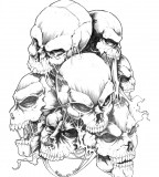 Extraordinary Skulls Tattoo Design Sketch