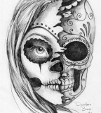 Sugar Skull Tattoo Design Sketch by Dorothea Barre