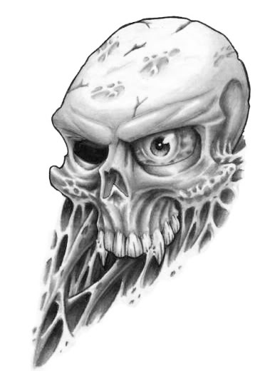 Incredible Skull Tattoo Flash Design Sketch