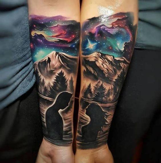 sky mountain couple love couple tattoo