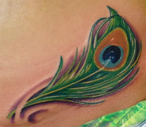 Colorful Feather Tattoo Done In March 2013: Amazing Small Peacock Feather Tattoo