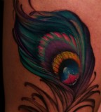 Jeff Gogue Peacock Feather Leg Tattoo