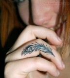 Peacock Feather Tattoo On Finger