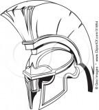 Black And White Spartan Or Trojan Helmet Sketch