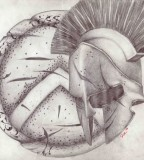 Personal Spartan Shield And Helmet Tattoo Concept