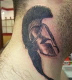 Spartan Helmet Tattoo On The Neck