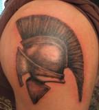 Left Arm Spartan Helmet Tattoos